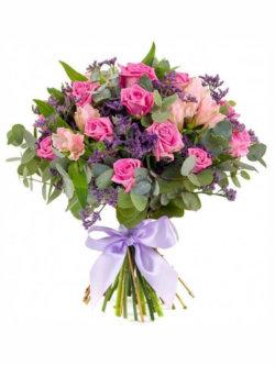 Букет из альстромерий, роз, лимониума и эвкалипта