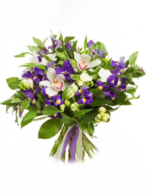 Букет из ирисов, цимбидиума (орхидеи), фрезий, альстромерий и декоративной зелени