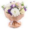 Букет из роз, орхидеи, эустомы, хризантемы и декоративной зелени в крафте
