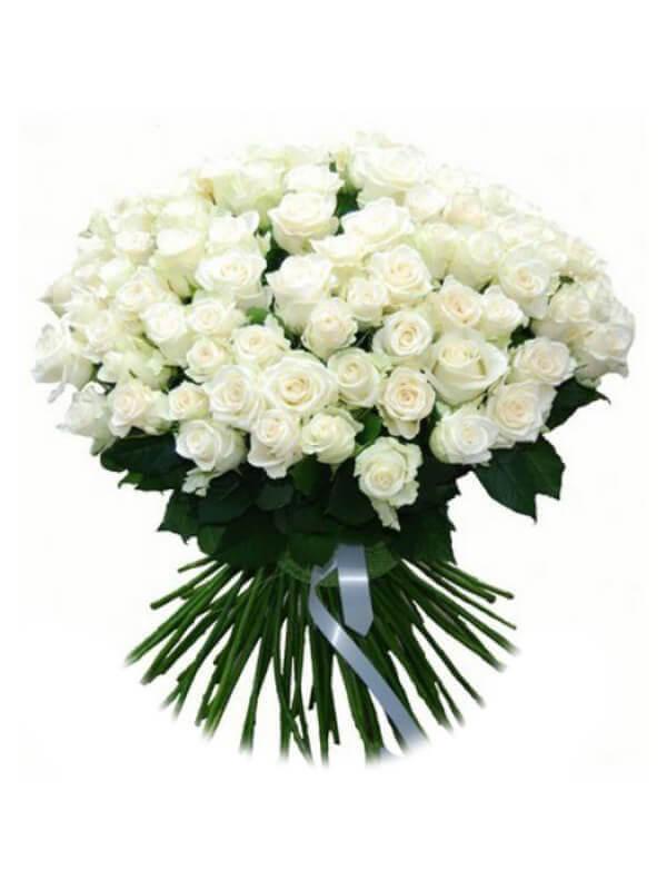 Букет из 101 белой розы с ленточкой