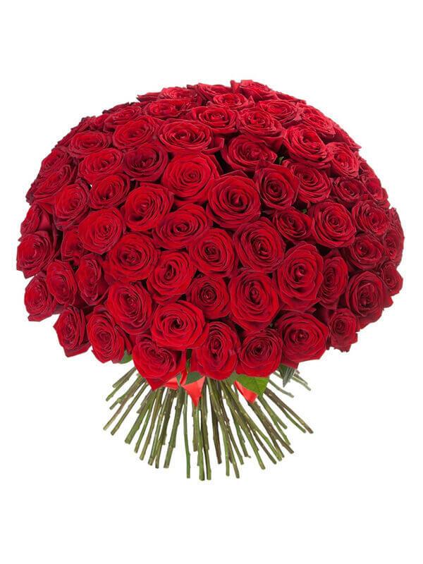 Букет из 101 красной розы с ленточкой