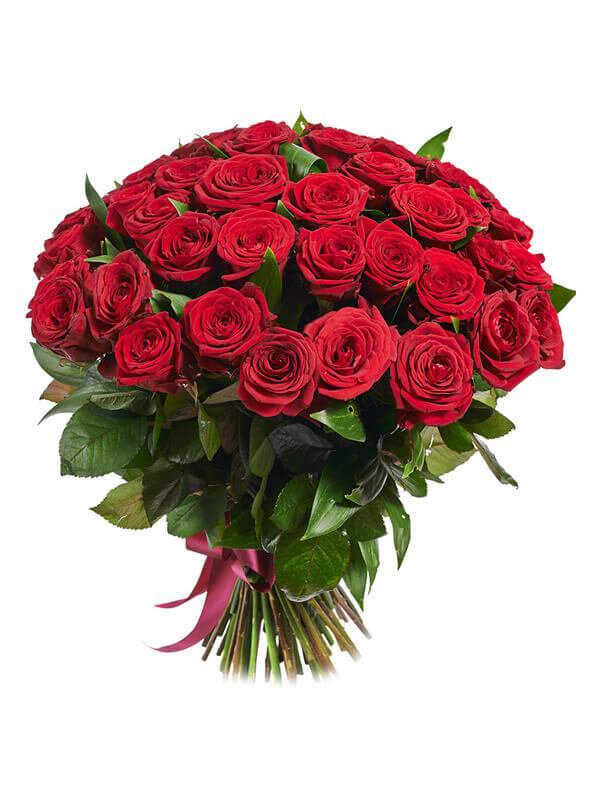 Букет из 51 красной розы с ленточкой