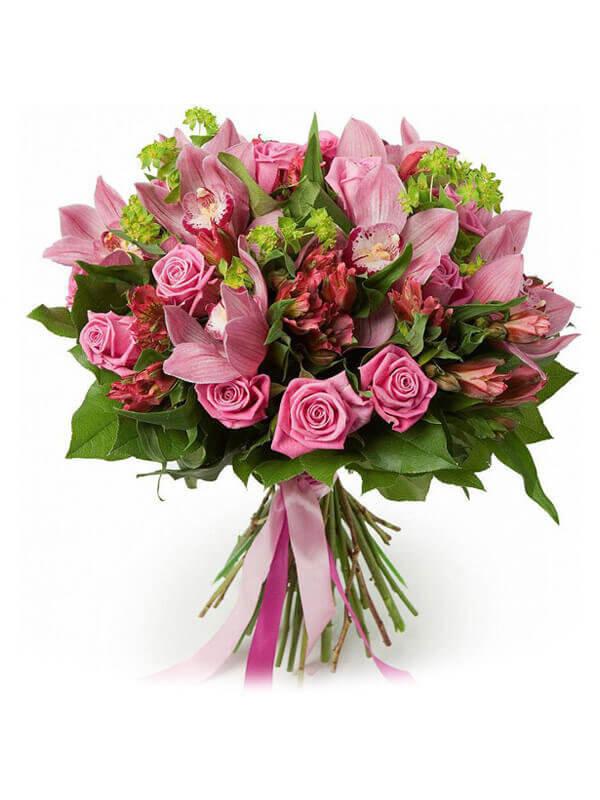 Букет из орхидей, альстромерий, роз, буплерума и декоративной зелени