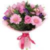 Букет из роз, гербер, орхидеи, эвкалипта и декоративной зелени
