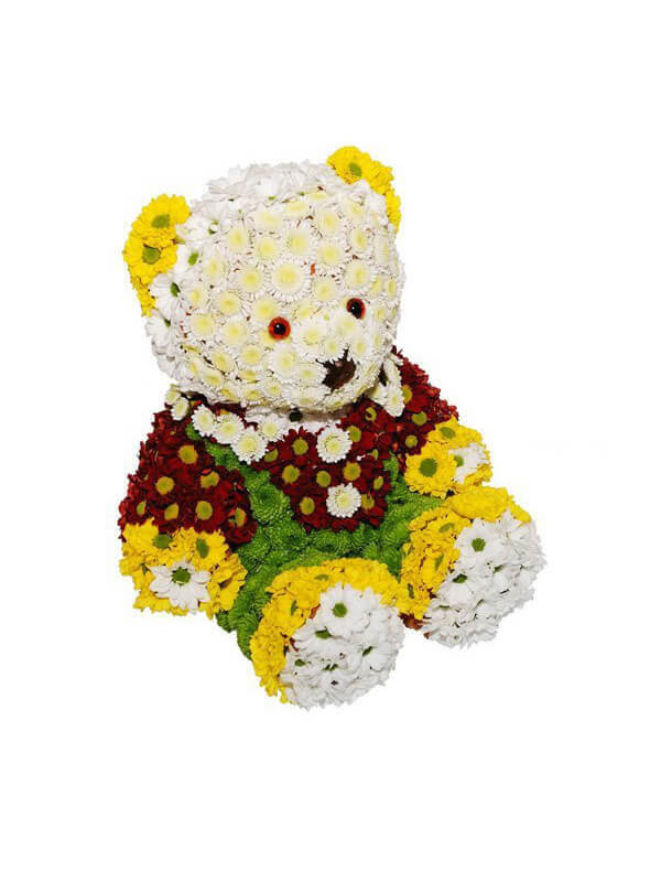 Цветочная композиция в форме игрушки Мишутка