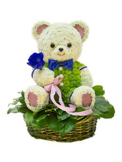Цветочная композиция в форме игрушки Мистер Мишка
