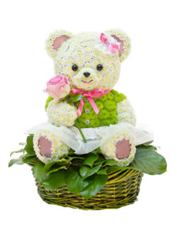 Цветочная композиция в форме игрушки Миссис Мишка