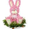 Цветочная композиция в форме игрушки розовый Заяц
