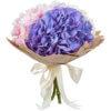 Букет из гортензий трех цветов в крафте