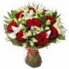 Букет лилий, красных роз, альстромерий и декоративной зелени