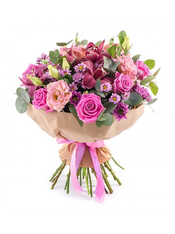 Букет из орхидей, роз, хризантем, эустом и декоративной зелени