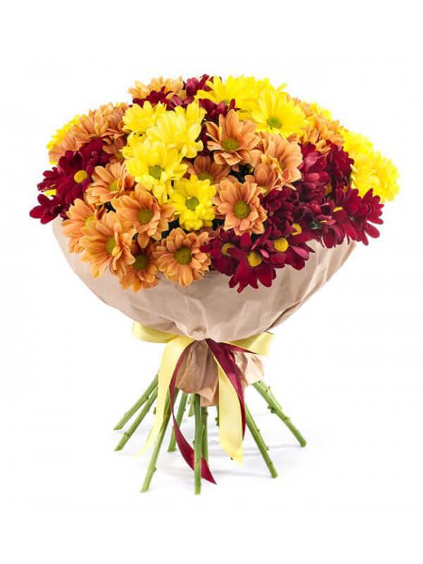 Букет из 15 кустовых хризантем красного, желтого, оранжевого цвета