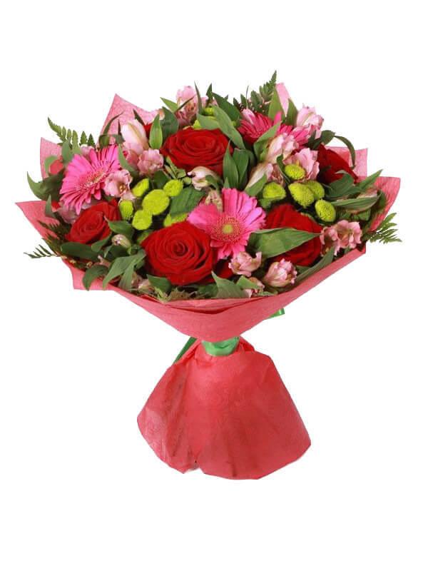 Букет из роз, гербер, альстромерий, хризантем и декоративной зелени