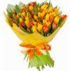 Букет из 25 оранжевых и желтых тюльпанов