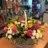 Корзина с розами, орхидеями, хризантемами и декоративной зеленью