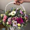 Корзина с герберами, хризантемой, эустомой и декоративной зеленью