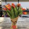 Букет из 15 красных тюльпанов с оранжевыми краями