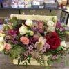 Композиция ящик цветов: с розами, хризантемами, альстромерями и декоративной зеленью
