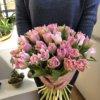 Букет из 35 розовых пионовидных тюльпанов