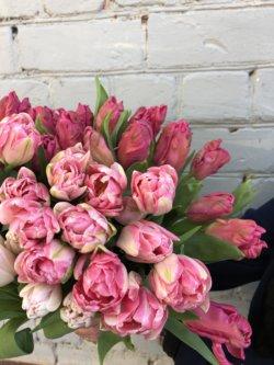 Букет розовых и белых пионовидных тюльпанов