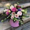 Коробка с розами одноголовыми и кустовыми, эустомой и декоративной зеленью
